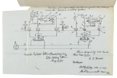 View 1. Thumbnail of Lot 70. MCELROY AND NICHOLSON PATENT DOCUMENTS, PRIMARILY RELATING TO GRANVILLE T. WOODS | Collection of documents compiled by the United States Patent Office. V.p., 1887–1891.
