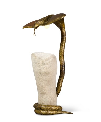 View 3. Thumbnail of Lot 196. JACQUES DUVAL-BRASSEUR | SNAKE TABLE LAMP.