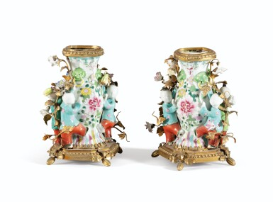 View 2. Thumbnail of Lot 33. A PAIR OF LOUIS XV STYLE GILT-BRONZE CHINESE FAMILLE-ROSE PORCELAIN VASES   PAIRE DE VASES EN PORCELAINE FAMILLE ROSE DE CHINE ET BRONZE DORÉ DE STYLE LOUIS XV.