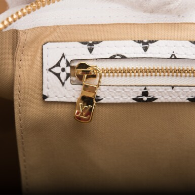 View 10. Thumbnail of Lot 121. Louis Vuitton Khaki Green Keepall Bandoulière 50 of Giant Monogram Canvas with Polished Brass Hardware .
