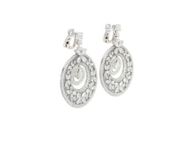 View 3. Thumbnail of Lot 1649. 'Butterfly' Pair of Diamond Pendent Earrings | 格拉夫 | 'Butterfly' 鑽石 耳墜一對.