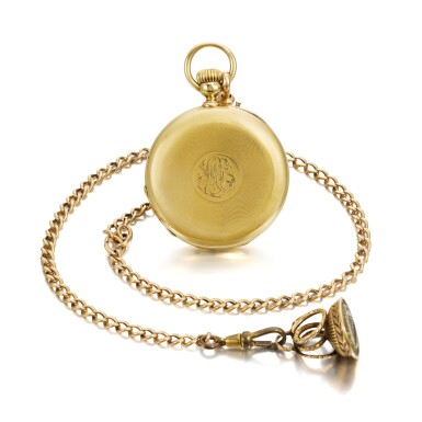 View 3. Thumbnail of Lot 201. YELLOW GOLD HALF HUNTING CASED KEYLESS WATCH NO. 4969, MADE IN 1866.