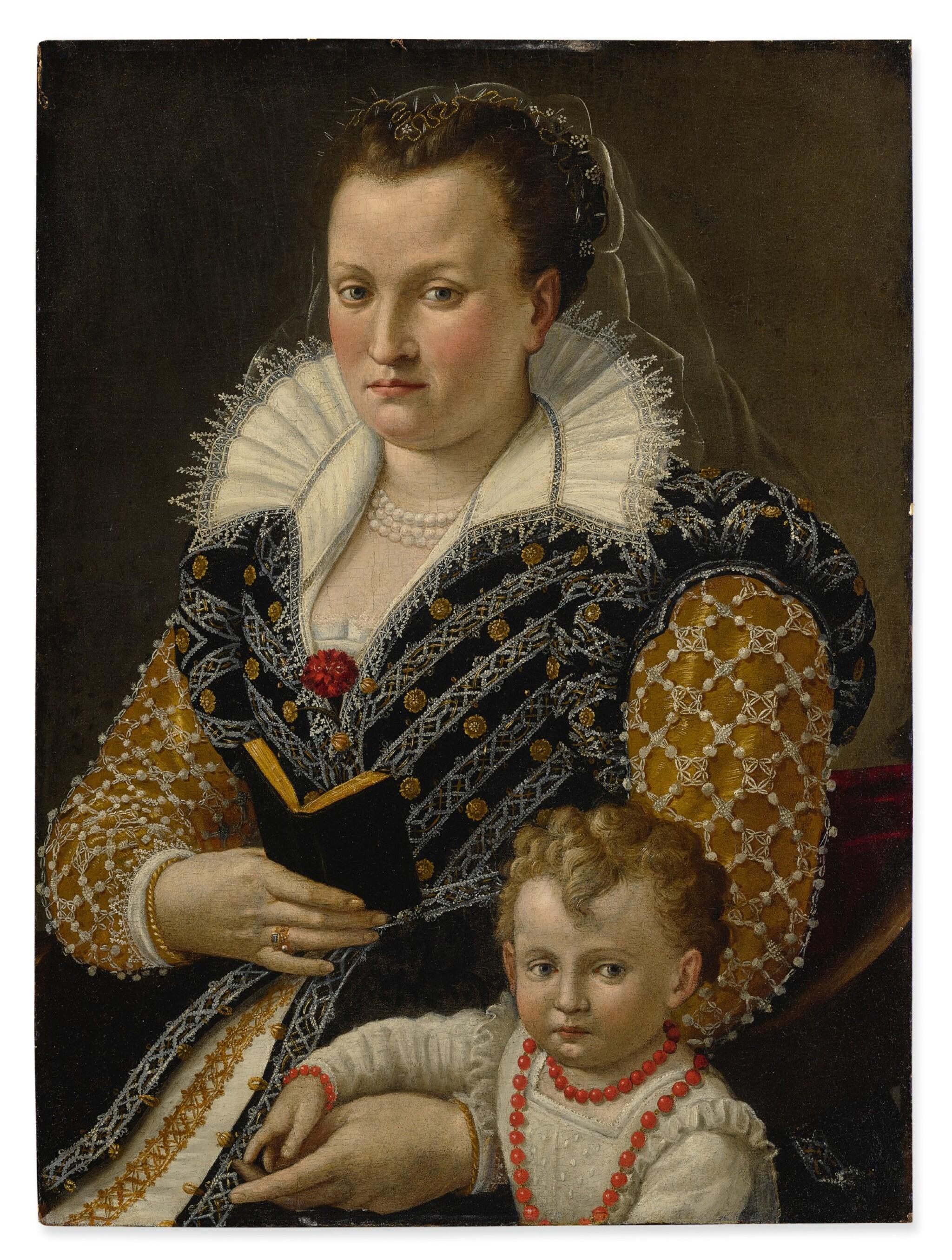 View full screen - View 1 of Lot 6. SEBASTIANO MARSILI | PORTRAIT OF ALESSANDRA DI VIERI DE' MEDICI (B. 1549) AT AGE 32 WITH HER SON OTTAVIANO (B. 1577), THREE-QUARTER LENGTH.