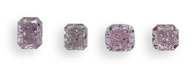A Group of Four Fancy Pink and Purple Diamonds