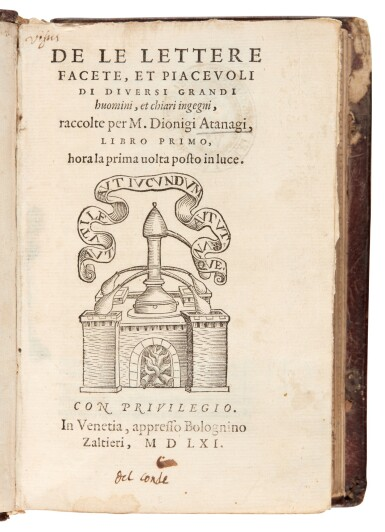View 3. Thumbnail of Lot 54. Atanagi, De le lettere facete, 1561; Achilles Tatius, Amorosi ragionamenti, 1546, contemporary Roman binding.