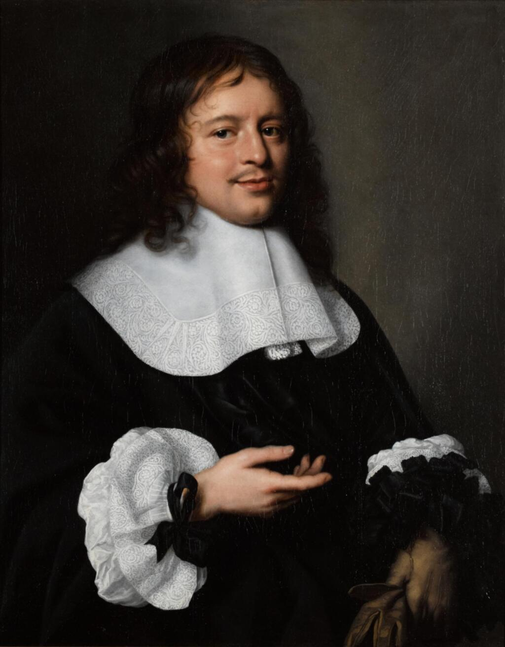 PIETER NASON | A portrait of a gentleman, half-length, with a white collar and cuffs and holding a pair of gloves