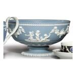 A WEDGWOOD BLUE AND WHITE JASPERWARE FOOTED BOWL CIRCA 1787
