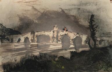 View 1. Thumbnail of Lot 117. VICTOR-MARIE HUGO | A BRIDGE IN SPAIN, ALSO CALLED THE MOORISH BRIDGE.