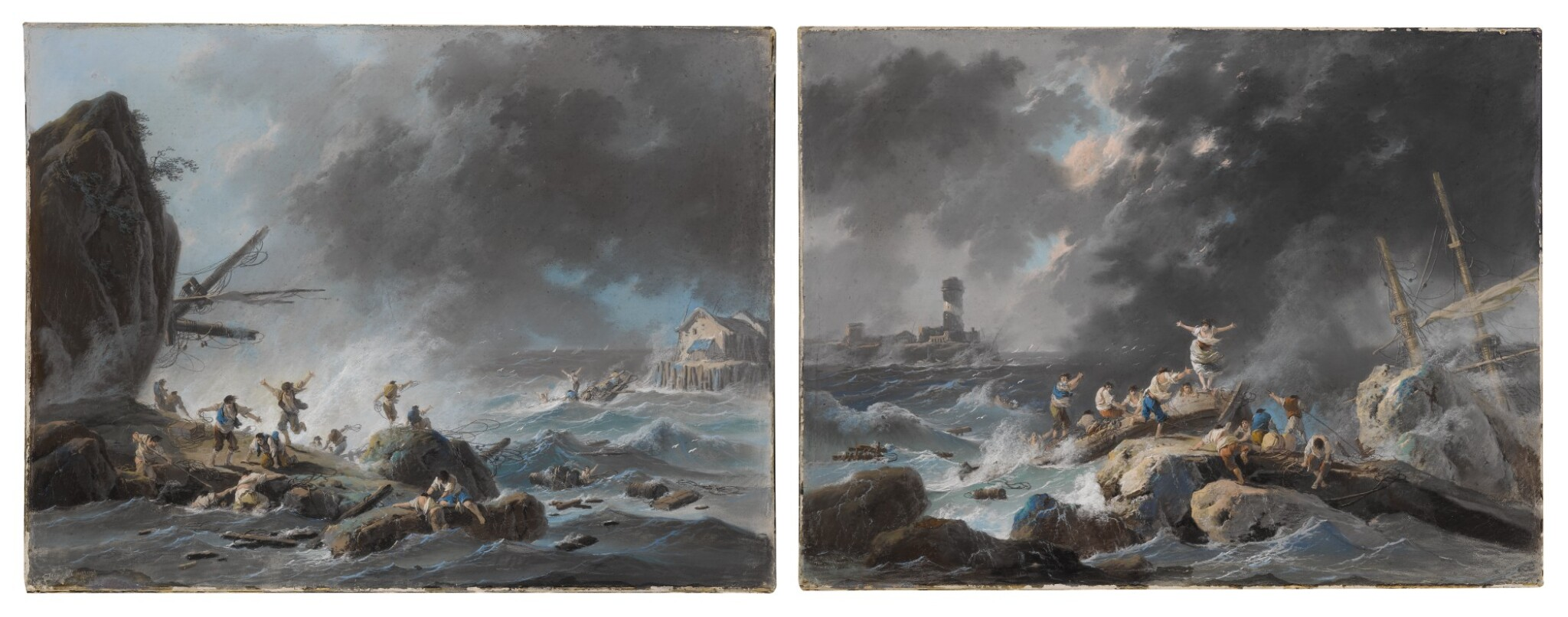 View full screen - View 1 of Lot 607. A shipwreck on a rocky coast during a storm; A shipwreck on a coast during a storm, a lighthouse beyond.