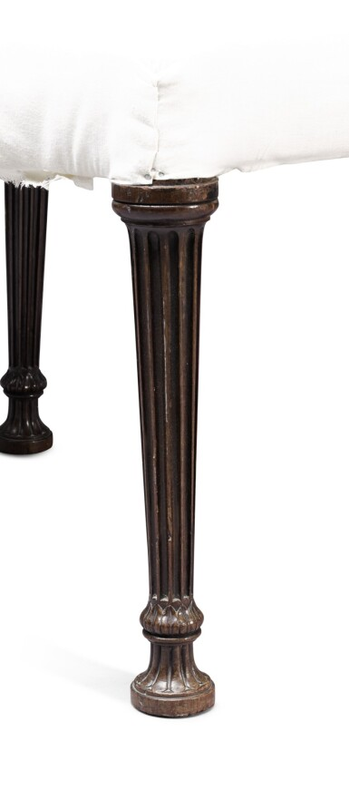 View 6. Thumbnail of Lot 249. A George III serpentine mahogany stool by Thomas Chippendale, 1772.