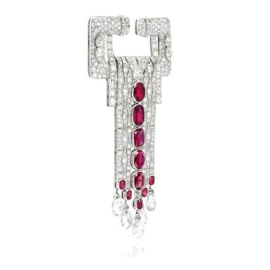 View 3. Thumbnail of Lot 171.  Chaumet | Exceptional ruby and diamond brooch, circa 1928 | 尚美 | 紅寶石配鑽石別針,約1928年.
