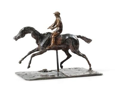 View 4. Thumbnail of Lot 226. Cheval au galop sur le pied droit, le pied gauche arrière seul touchant terre ; jockey monté sur le cheval.