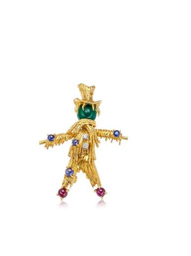 View 1. Thumbnail of Lot 1665. 'Scarecrow' Gold, Gem Set and Diamond Brooch, 1960s | 梵克雅寶 | 'Scarecrow' K金 配 寶石 及 鑽石 胸針, 1960年代.