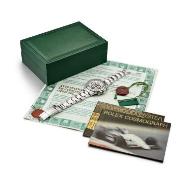 View 4. Thumbnail of Lot 2148. Rolex | Cosmograph Daytona, Reference 16520, A stainless steel chronograph wristwatch with bracelet, Circa 1996 | 勞力士 | Cosmograph Daytona 型號16520    精鋼計時鏈帶腕錶,約1996年製.