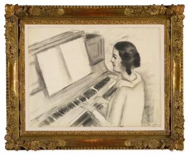 View 2. Thumbnail of Lot 52. Portrait de Henriette jouant au piano.