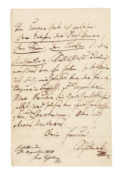 View 2. Thumbnail of Lot 55. F. Schubert. The composer's last surviving letter, written to his close friend Franz von Schober, 1828.
