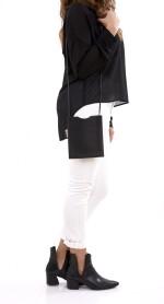 Black leather shoulder bag, Onimateau, Hermès, 2007