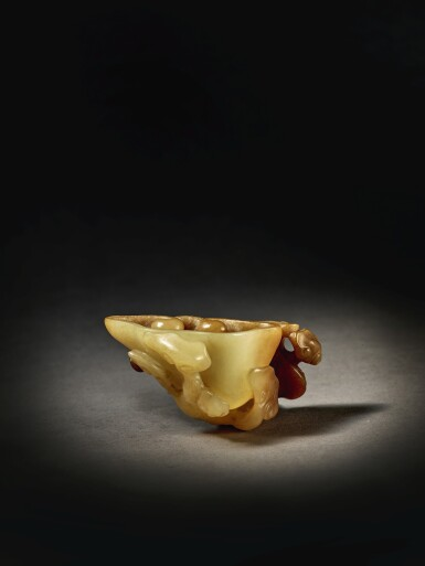 View 3. Thumbnail of Lot 212.  A YELLOW AND RUSSET JADE 'LINGZHI' WASHER,  QING DYNASTY, QIANLONG PERIOD.
