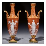 A PAIR OF MINTONS PÂTE-SUR-PÂTE CARNELIAN-RED-GROUND TWO-HANDLED VASES ONE DATED 1878