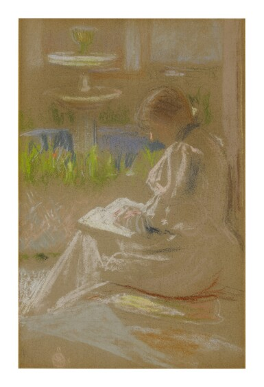 ALBERT STERNER   WOMAN READING BY A FOUNTAIN