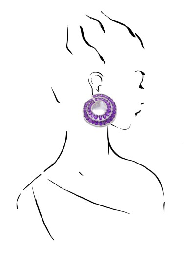 View 4. Thumbnail of Lot 30. MICHELE DELLA VALLE   PAIR OF AMETHYST AND DIAMOND EARRINGS.