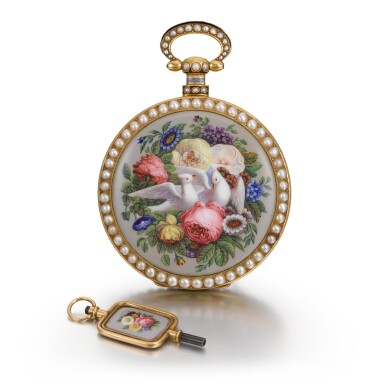 View 5. Thumbnail of Lot 292. BOVET FLEURIER | A PAIR OF GOLD, ENAMEL AND PEARL-SET WATCHES MADE FOR THE CHINESE MARKET, CIRCA 1825, NO. 176.
