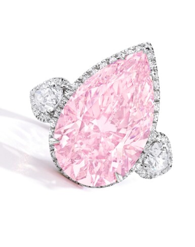 View 2. Thumbnail of Lot 134. An Exquisite Fancy Pink Diamond and Diamond Ring.