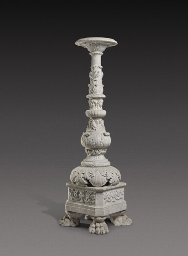 View 2. Thumbnail of Lot 172. An Italian carved white marble candelabrum, Rome, early 19th century.