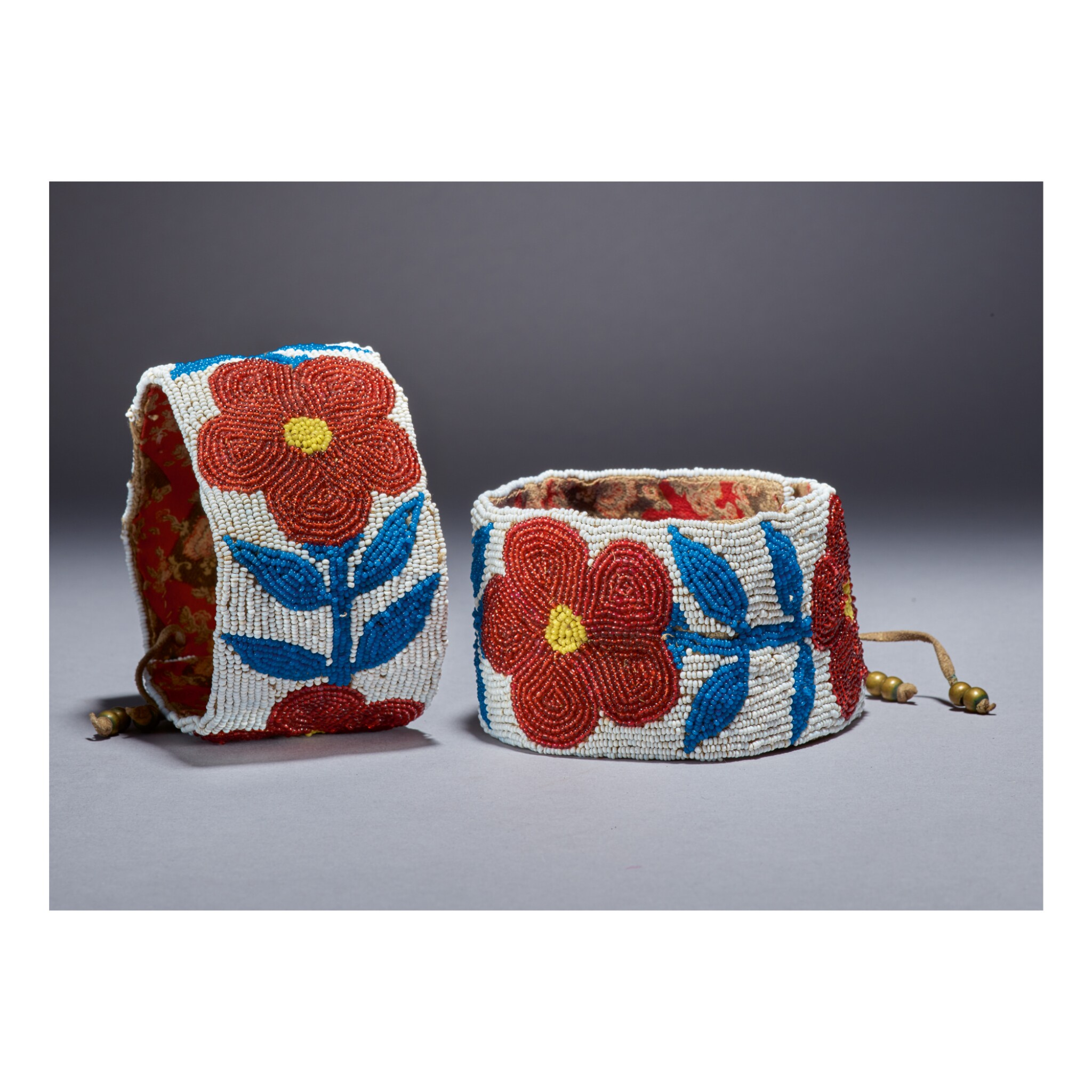 View 1 of Lot 225. PAIR OF SHOSHONE BEADED ARMBANDS, NORTHERN PLAINS.