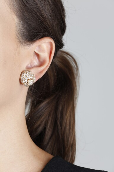 View 4. Thumbnail of Lot 64. CARTIER   PAIR OF DIAMOND PENDENT EARRINGS.
