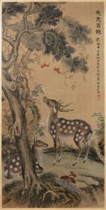 Anonyme Deux cerfs Dynastie Qing, XVIIIE-XIXE siècle | 清十八至十九世紀 沈銓(款) 雙鹿圖 | Anonymous  Two deers