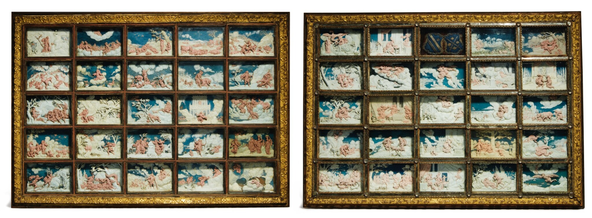 View full screen - View 1 of Lot 802. pair of framed sets of reliefs with Ovid's Metamorphoses.