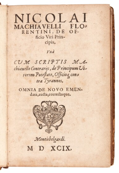 View 1. Thumbnail of Lot 170. Machiavelli, Two works in Latin, Montbéliard, 1599 & 1591, later calf, two volumes.