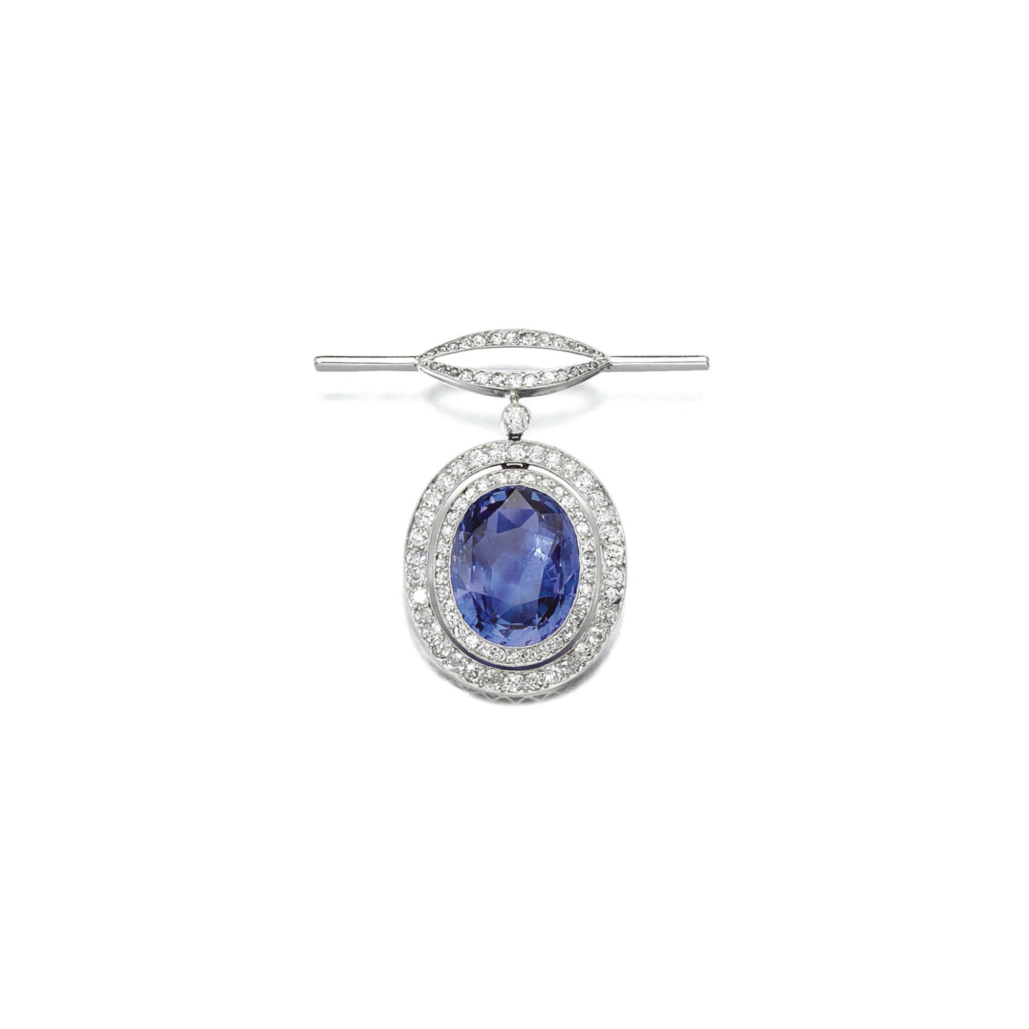 View full screen - View 1 of Lot 3. COLOUR CHANGE SAPPHIRE AND DIAMOND BROOCH, EARLY 20TH CENTURY COMPOSITE.