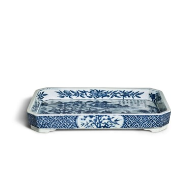 View 2. Thumbnail of Lot 80. A blue and white 'landscape' tray, Mark and period of Jiaqing | 清嘉慶 青花山水圖詩文長方倭角托盤 《大清嘉慶年製》款.