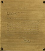 [EINSTEIN, ALBERT] | DESK LAMP W/UNRECORDED FACSIMILE TYPED LETTER TO WILLIAM LAURENCE