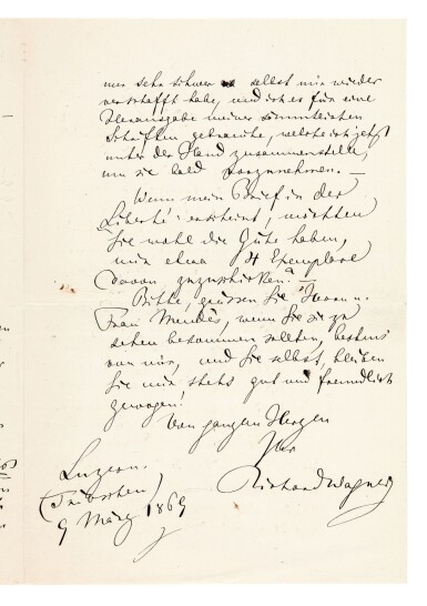 View 1. Thumbnail of Lot 45. R. Wagner. Autograph letter about his pamphlet on Judaism in Music, and his views on German Jews in Paris, 1869.