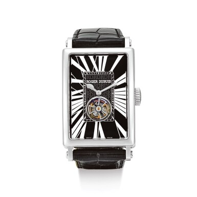 """ROGER DUBUIS     MUCH MORE, REFERENCE M34 09 9 O9:RD.71  A LIMITED EDITION STAINLESS STEEL TOURBILLON WRISTWATCH, CIRCA 2007   羅杰杜彼   """"Much More 型號M34 09 9 O9:RD.71  限量版精鋼陀飛輪腕錶,機芯編號976,錶殼編號12/88,約2007年製"""""""
