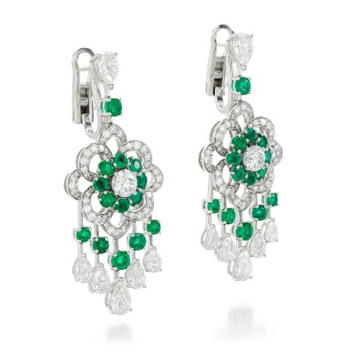 View 2. Thumbnail of Lot 32.  GRAFF | PAIR OF EMERALD AND DIAMOND EARRINGS.