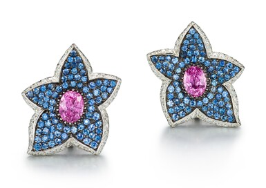 PAIR OF GEM SET AND DIAMOND EARRINGS | 寶石 配 鑽石 耳環一對