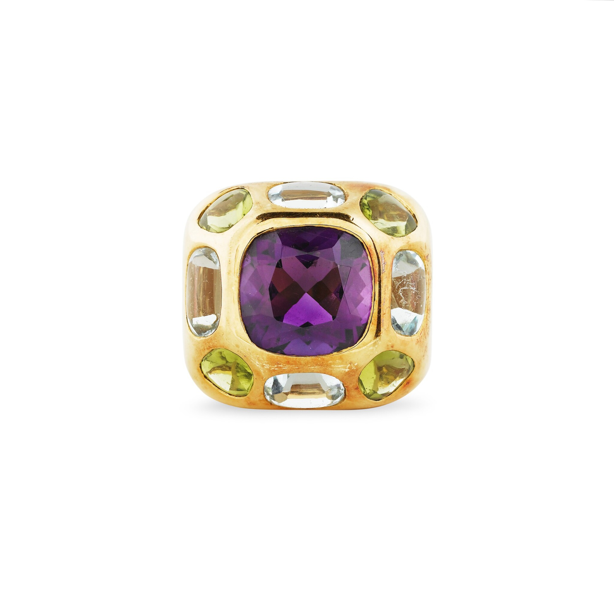 """View full screen - View 1 of Lot 82. BAGUE AMETHYSTE, AIGUES-MARINES ET PERIDOTS, """"COCO"""" 