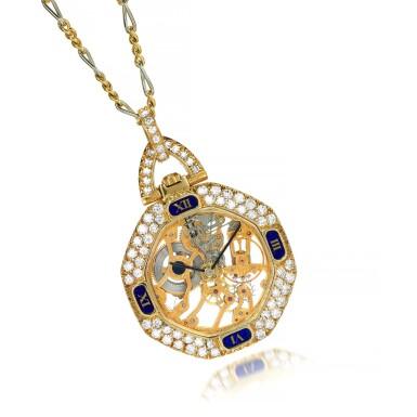 View 1. Thumbnail of Lot 74. Diamond pendant watch.