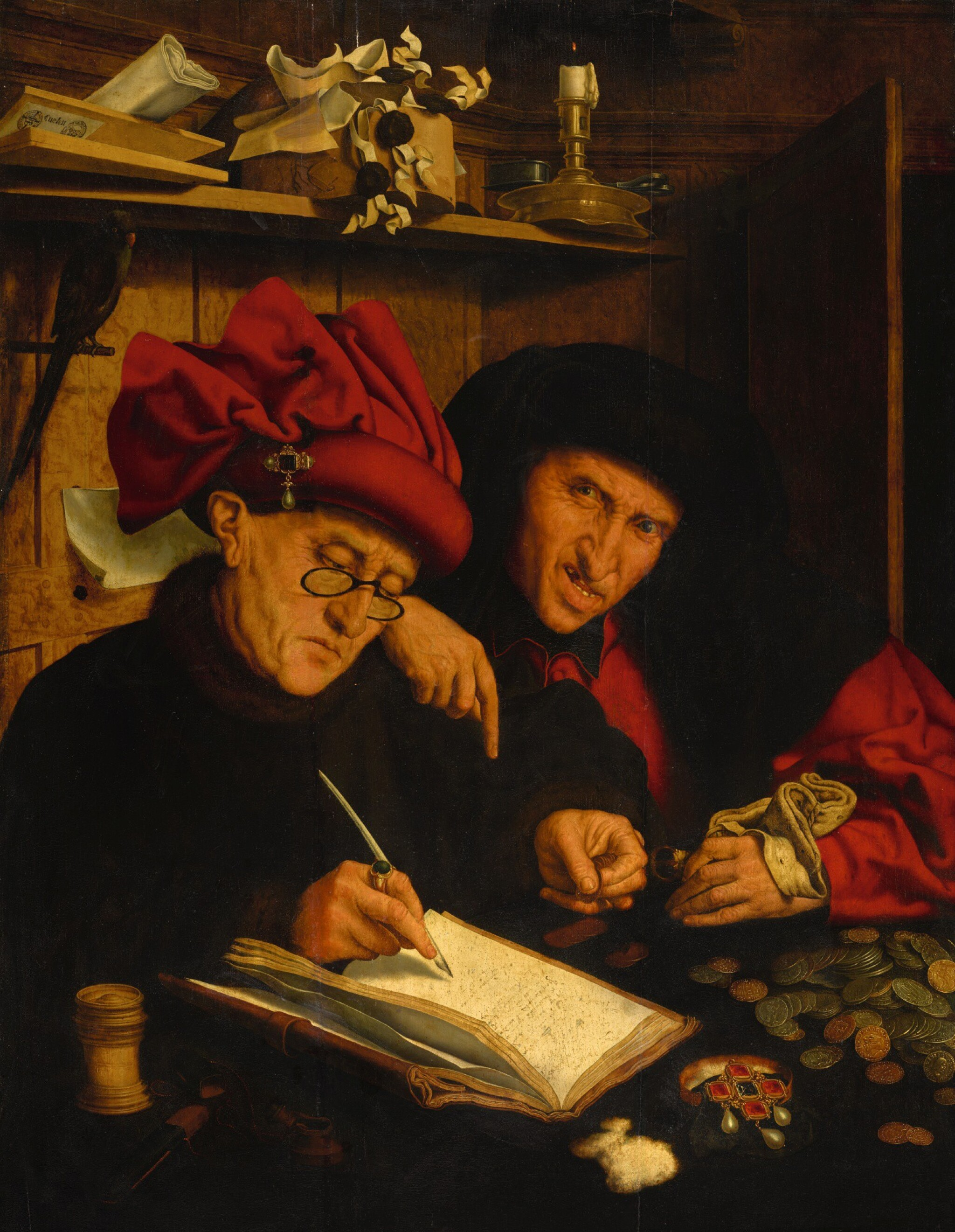 View full screen - View 1 of Lot 2. FOLLOWER OF MARINUS VAN REYMERSWAELE   The Tax Collectors or 'The Misers'   馬里納斯・凡・雷梅爾思維勒之追隨者     《稅吏》或《守財奴》.