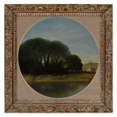 View 2. Thumbnail of Lot 27. Landscape with a Farm and Trees Beside a River.