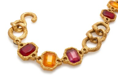 View 2. Thumbnail of Lot 4. RED AND ORANGE GRIPOIX AND GOLD-TONE METAL BELT, CHANEL.