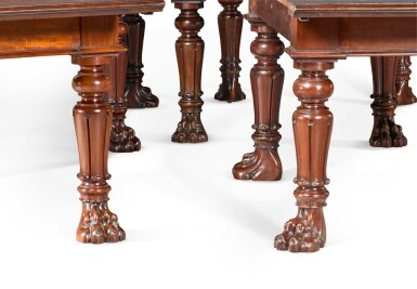 View 3. Thumbnail of Lot 60. AN IMPORTANT REGENCY CARVED MAHOGANY EXTENDING DINING TABLE, FIRST QUARTER 19TH CENTURY, IN THE MANNER OF GILLOWS.