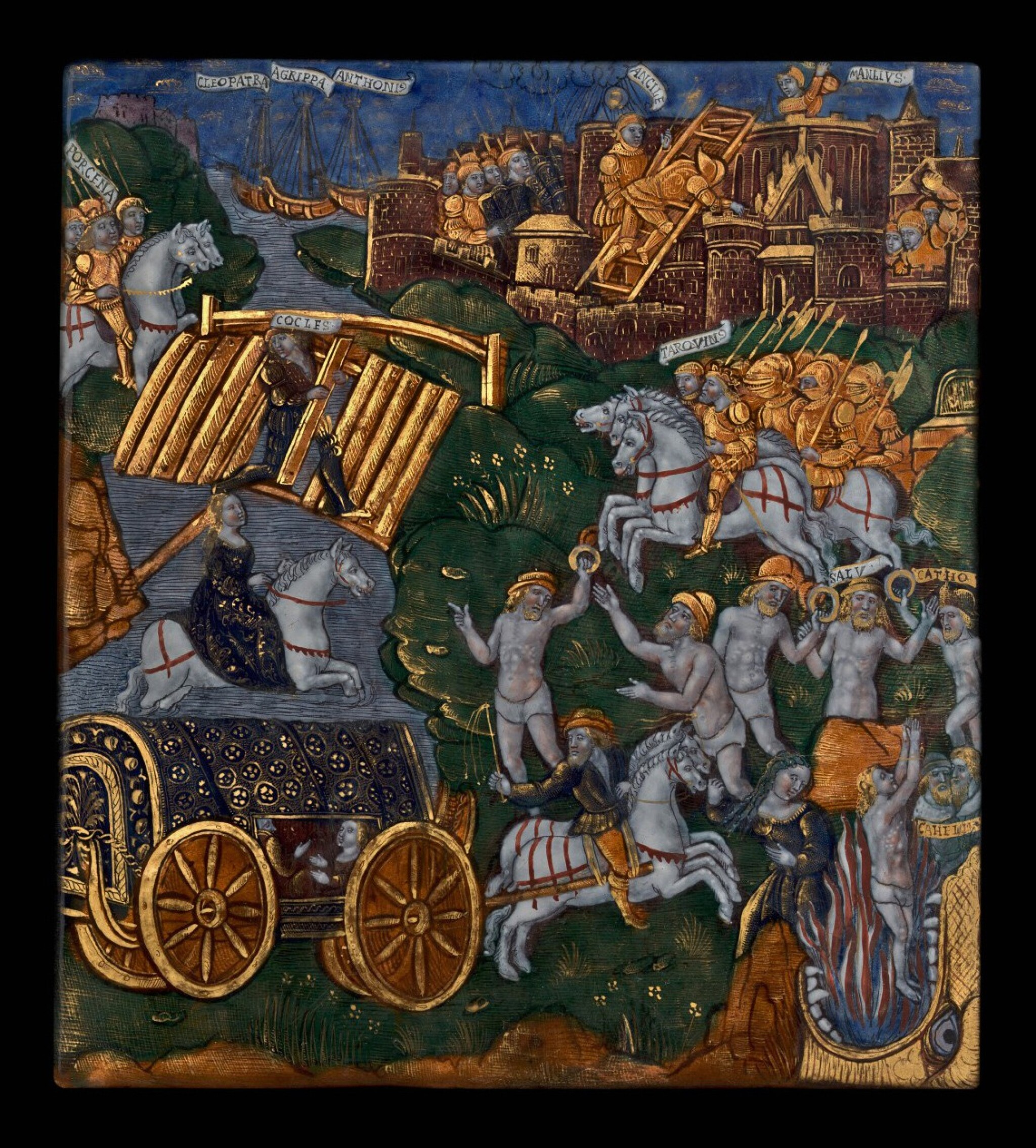 The Master of the Aeneid, French, Limoges, circa 1525-1530 | Plaque with Subjects engraved by Vulcan on the shield given by Venus to Aeneas