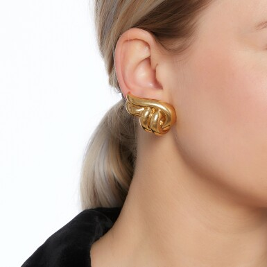 View 4. Thumbnail of Lot 9. Pair of ear clips.
