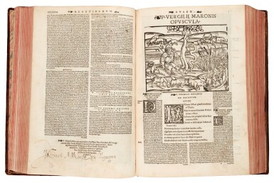 View 1. Thumbnail of Lot 259. Vergil, Opera Virgiliana, Lyon, 1529, later mottled calf.