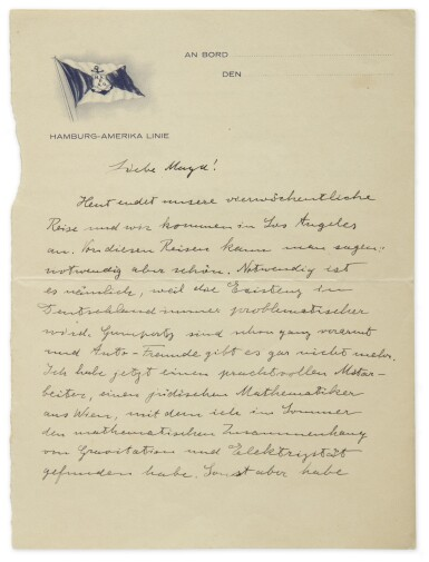 EINSTEIN, ALBERT | ALS TO HIS SISTER MAJA, PROCLAIMING THE SUCCESS OF HIS UNIFIED FIELD THEORY. 1 1/2PP. [JAN 1932]